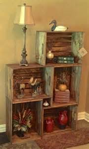 How To Decorate A Display Cabinet Best 25 Wood Crate Shelves Ideas On Pinterest Wooden