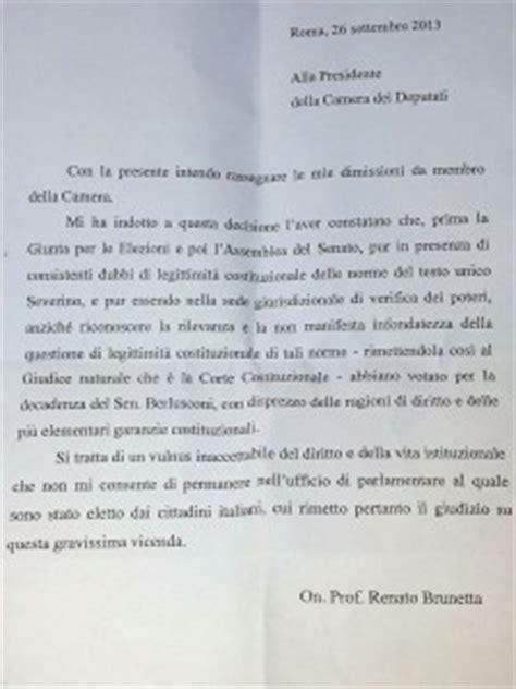 esempi di lettere di dimissioni la lettera di dimissioni di renato brunetta il fatto