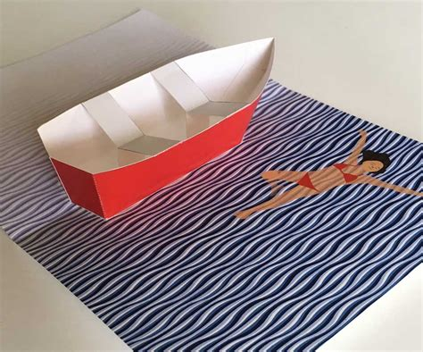 sailboat pop up card template row boat pop up card printable template