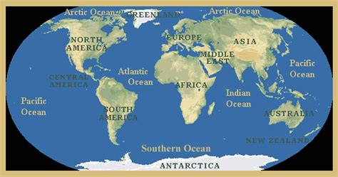 continents and oceans continents