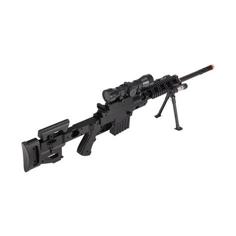 Kaos Airsoft Dual Sniper airsoft sniper rifle gun w scope laser light bipod 350 fps