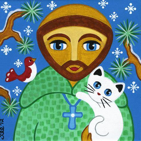 St Cat Kid francis of assisi cat folk print from original
