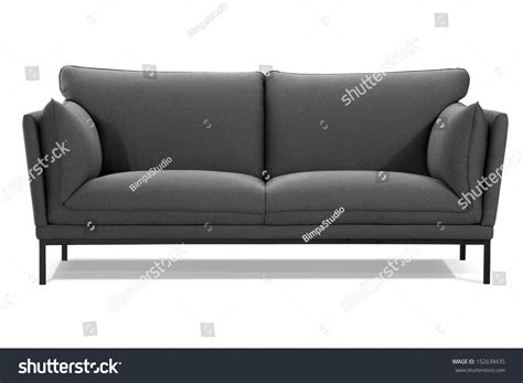 modern gray sofa isolated on white background front view