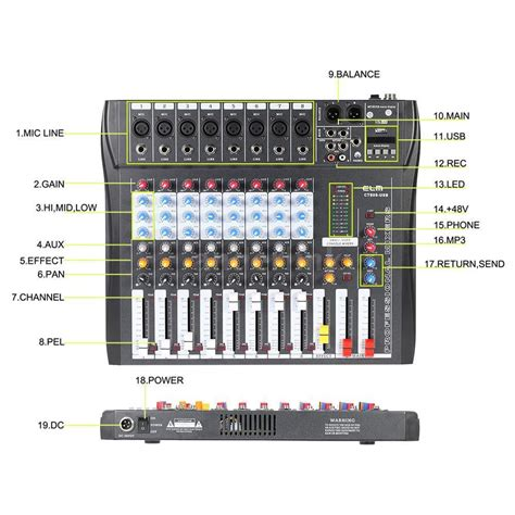 Mixer Audio Line 7 Channel F7 Audio Line F7 ammoon ct80s usb 8 channel digtal mic line audio mixing mixer console b2d1 ebay