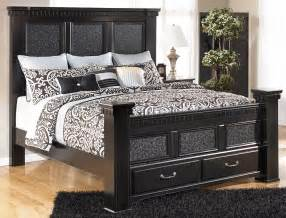 King Size Bed With Footboard Cavallino Mansion Cal King Size Bed With Storage Footboard By Signature Design Tenpenny Furniture