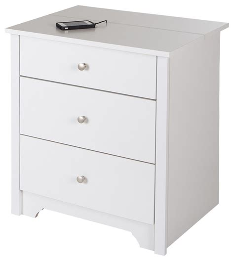 bedside table charging station south shore vito nightstand with charging station and drawers transitional nightstands and