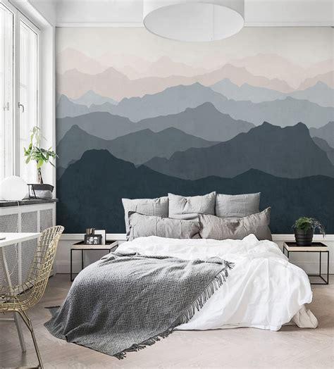 misty mountains wall mural home decor walls mountain mural wall art wallpaper grayish navy pale pink