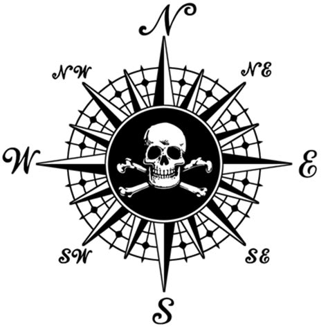 drawn compass pirate pencil and in color drawn compass