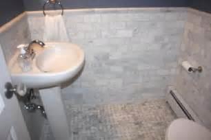 Basketweave Tile Backsplash - marble subway tile contemporary bathroom