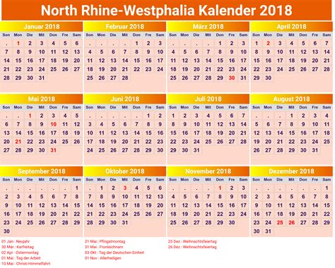 Kalender 2018 Schulferien Deutschland Kalender 2018 Nrw Ausdrucken Ferien Feiertage Excel