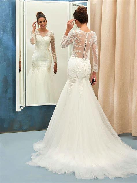 Sleeves Wedding Dresses by Illusion Back Mermaid Sleeves Lace Wedding Dress