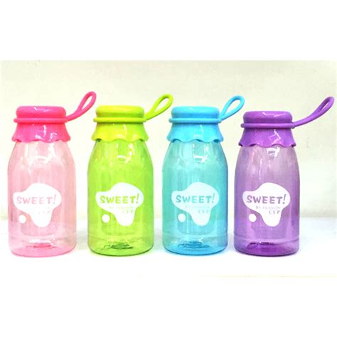 Botol Minum Kaca 350ml botol minum sweet fashion cup transparant color 350ml sm 8405 blue jakartanotebook