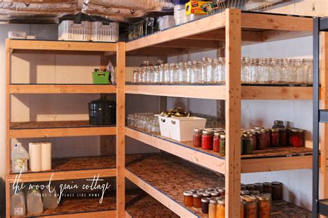 diy basement shelving  wood grain cottage