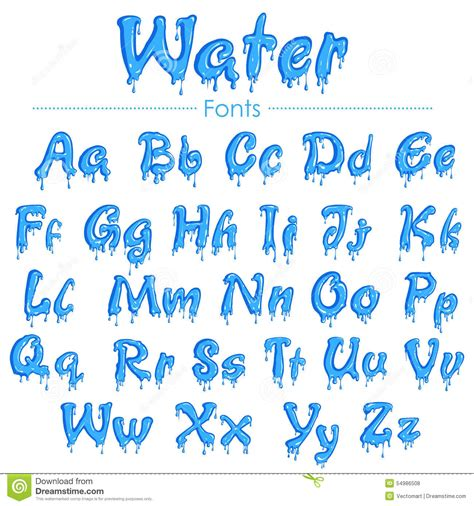 font design water english font in water texture stock vector image 54986508