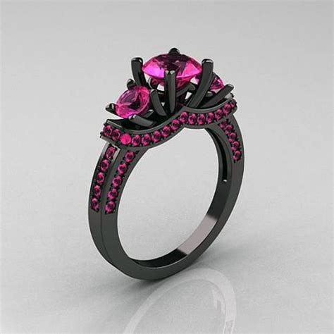 Eheringe Schwarz Gold by Black Gold Rings With Pink Diamonds Inofashionstyle