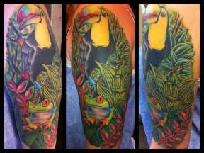 rainforest tattoo rainforest toucan and eyed tree frog half sleeve