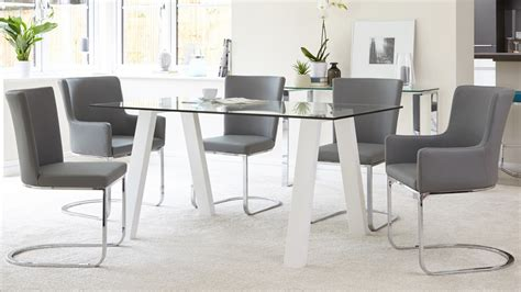 6 seater glass and white gloss dining table kendell