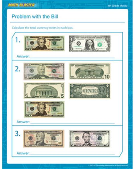 4th Grade Math Worksheets Money by Problem With The Bill Free Counting Money Worksheet