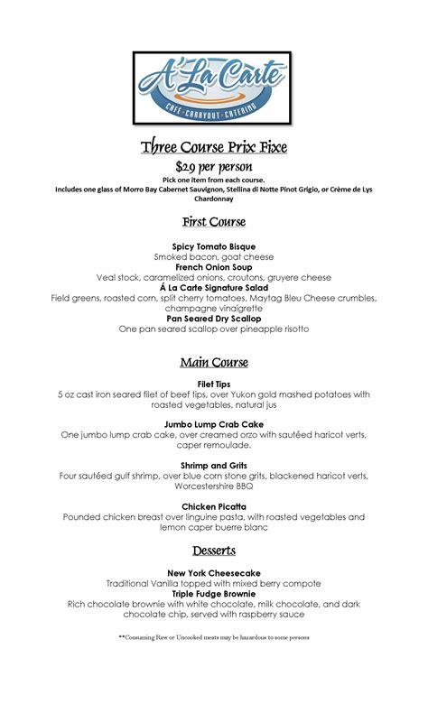 3 course dinner menu prix fixe menu at a la carte uptown stationuptown station