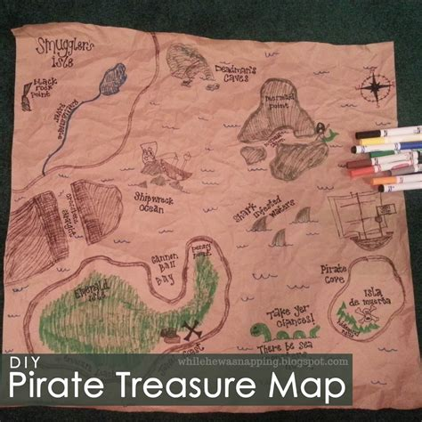 How To Make Treasure Map Paper - pirate treasure map while he was napping