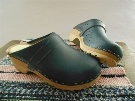 swedish clogs for vintage swedish clogs navy blue leather wood clogs size eu 36