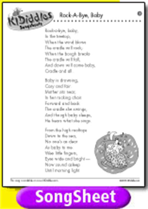 testo in baby rock a bye baby song and lyrics from kididdles