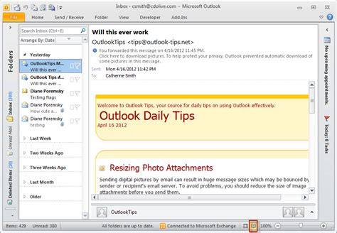 change calendar layout in outlook 2010 outlook 2010 s status bar view button
