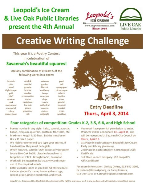 creative writing challenges 4th annual leopold s creative writing challenge