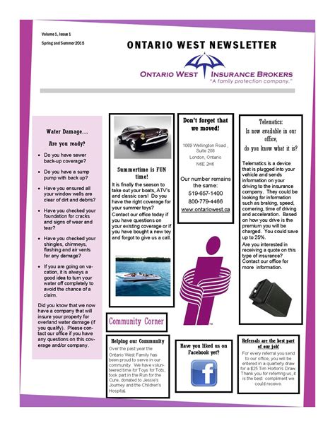 Insurance Newsletter Newsletter Ontario West Insurance Brokers