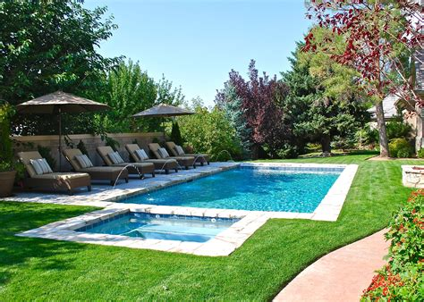 backyard pools backyard swimming pool with minimal decking deckjets and