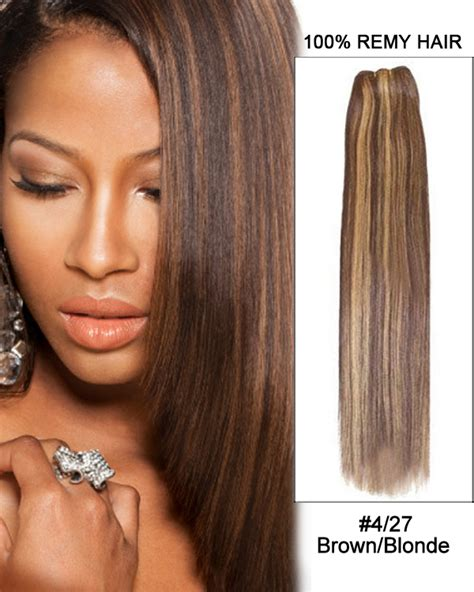 brown and blonde weave 16 4 27 brown blonde straight weave 100 remy hair weft