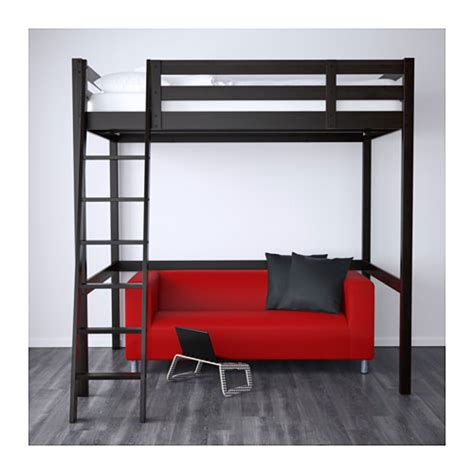 Lofted Bed Frame Stor 197 Struttura Per Letto A Soppalco Nero Nero 140x200 Cm Santa Pinterest Loft Bed Frame