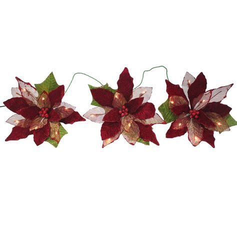 clear poinsetta holiday flower xmas lights 18 light battery operated led 3 poinsettia flower garland fg02 1r018 a1 the home depot