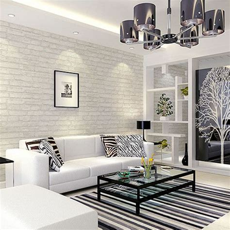 simple white living room wall design download 3d house white grey real looking brick pattern wallpaper wp120