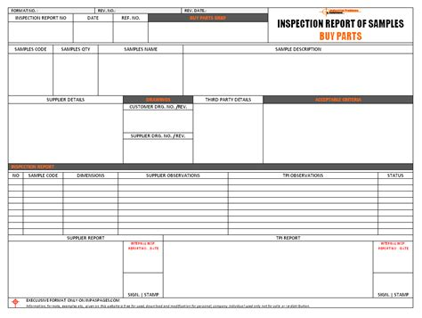 inspection report for sles buy parts format