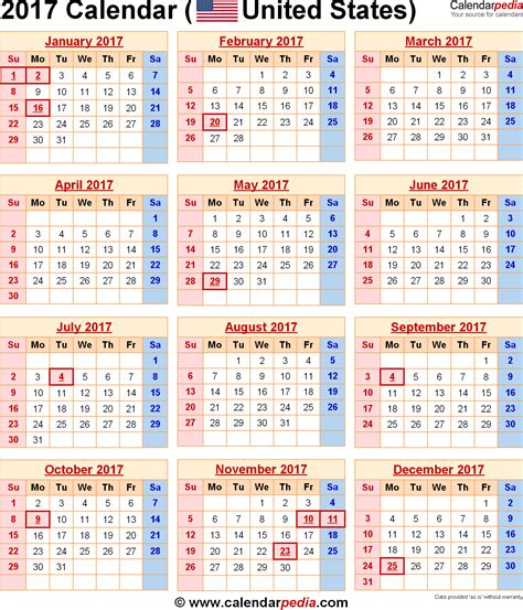 Calendar 2017 Template With Holidays 2017 Calendar With Holidays Weekly Calendar Template