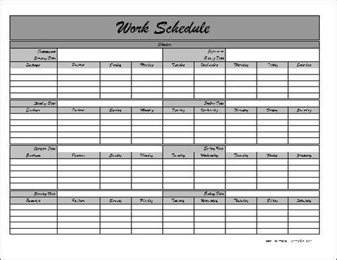 work calendars templates free monthly work schedule template schedule