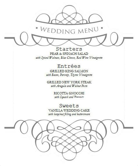 wedding drink menu template free sle menu template 29 in pdf psd word