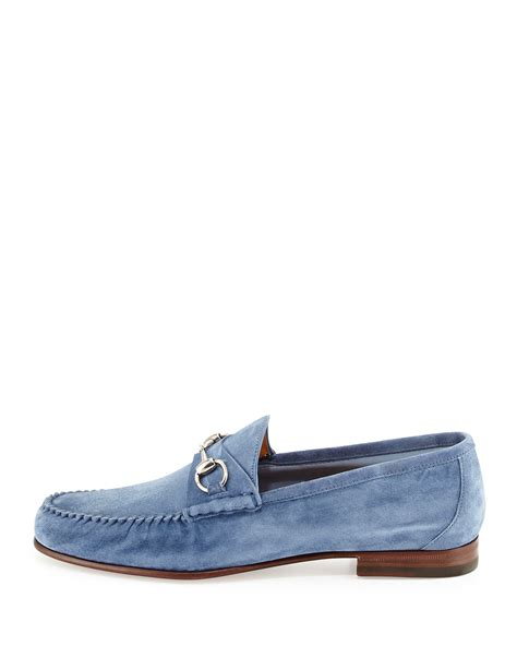 gucci blue suede loafers gucci unlined suede horsebit loafer in blue for lyst
