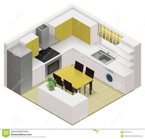 7 X 10 Bathroom Floor Plans Vector Isometric Kitchen Icon Stock Vector Image 33475473