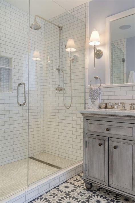 bathroom design walk  shower subway tiles linear drain