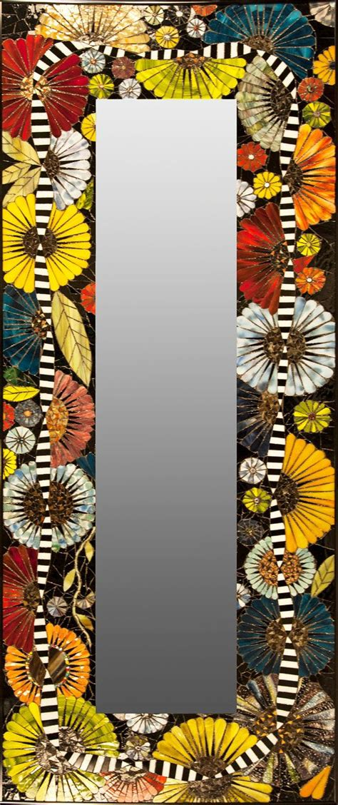 why are flowers brightly colored mosaic mirror with brightly colored flower by