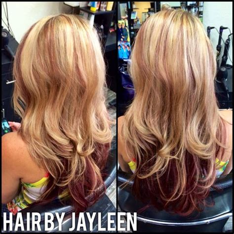 blonde highlight red on bottom blonde mahogany layers fun hair red highlights with