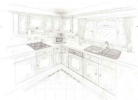 a two point perspective interior sketch of my home kitchen 1106618070 portfolio