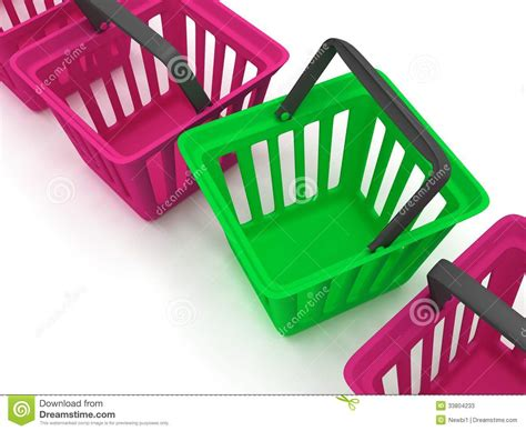 colored white out 3d rendering of a shopping baskets stock photos image