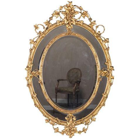 Cermin Oval Harvest Mirror White antique wine estate oval mirror circa 1875