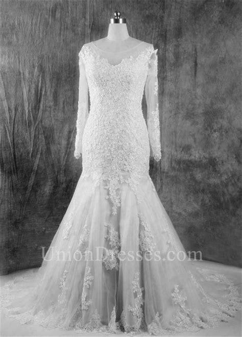 Vintage Mermaid Illusion Neckline Long Sleeve Lace Wedding Dress Court Train