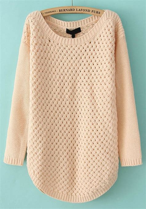 Sweater Pink List pink hollow out irregular neck acrylic sweater