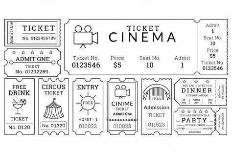 Ticket Templates Pack Illustrations On Creative Market Tour Ticket Template