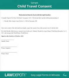 child travel consent form free minor travel consent